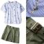 Lady Ribbon Online เสื้อผ้าออนไลน์ขายส่ง Normal Ally เสื้อผ้า NA11150816 &#x1F389Normal Ally Present Pineapple print shirt striped and army tone skirt set&#x1F389 thumbnail 6