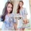 Blue and White Embroidered Dress เดรสปักและตกแต่งลายสีฟ้า- thumbnail 2