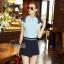 Lady Ribbon Online เสื้อผ้าออนไลน์ขายส่ง Normal Ally เสื้อผ้า,NA05220816 &#x1F389Normal Ally Present flower lace decorate shirt and pant set&#x1F389 (เสื้อแต่งลูกไม้บ่า+กางเกงกระโปรงแต่งเชือกเปียเอว) thumbnail 2
