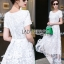 Lady Megan Sweet Feminine White Lace Maxi Dress thumbnail 1