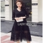 Lady Ribbon Mini Dress เดรสลูกไม้สีดำ thumbnail 5