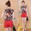 Lady Ribbon Online เสื้อผ้าแฟชั่นออนไลน์ขายส่ง เลดี้ริบบอนของแท้พร้อมส่ง sevy เสื้อผ้า SV08240716 &#x1F389Sevy Two Pieces Of Leave Stripes With Red Shorts Sets thumbnail 2