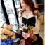 Lady Ribbon ขายส่งเสื้อผ้าออนไลน์พร้อมส่งของแท้ LR09220716 &#x1F380 Lady Ribbon's Made &#x1F380 Lady Hannah Sweet Monochrome Playsuit with Ribbon thumbnail 2