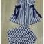 เสื้อกางเกง ผ้าลายริ้วสีน้ำเงินขาวคอปก thumbnail 5