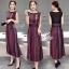 Lady Ribbon Online เสื้อผ้าแฟชั่นออนไลน์ขายส่ง เลดี้ริบบอนของแท้พร้อมส่ง sevy เสื้อผ้า SV03240716 &#x1F389Sevy Northern Silk Pattern Open Leg Maxi Dress thumbnail 1