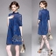 2Sister Made, Navy Color Style Jeans Cuties Dress เดรสยีนส์สั้น thumbnail 3