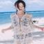 Summer Style White Crochet Dress Lady Ribbon เดรสผ้าถักโครเชต์ thumbnail 2