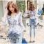 เสื้อชีฟองคอวีสีขาวฟ้า thumbnail 3