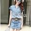 Lady Ribbon Online เสื้อผ้าออนไลน์ ขายส่งของแท้ราคาถููก LR11110716 &#x1F380 Lady Ribbon's Made &#x1F380 Lady Cindy Little Western Cowboy Denim Shirt and Shorts Set with Belt thumbnail 5