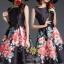 เสื้อผ้าแฟชั่นเกาหลีสวยๆเดรสสีดำลายดอกไม้สีแดง thumbnail 1