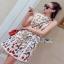 Lady Ribbon Mini Dress มินิเดรสสีครีมปักลายดอกไม้ thumbnail 4