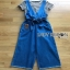 Lady Ribbon Striped and Denim Jumpsuit with Ribbon thumbnail 8