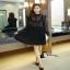 เสื้อผ้าแฟชั่นเกาหลีCliona Winter Black Lace Dress เดรสแขนยาวโทนขาวดำ thumbnail 3