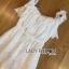 Lady Ribbon ขายส่งเสื้อผ้าออนไลน์พร้อมส่งของแท้ LR14220716 &#x1F380 Lady Ribbon's Made &#x1F380 Lady Michelle Pure White Off-Shoulder Lace Jumpsuit thumbnail 4