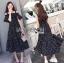 Lady Ribbon Cotton Dress เดรสผ้าคอตตอนลายจุดสีขาว-ดำ thumbnail 4