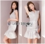 Lady Ribbon Online ขายส่งเสื้อผ้าออนไลน์ Lady Ribbon พร้อมส่ง LR15040816 &#x1F380 Lady Ribbon's Made &#x1F380 Lady Megan Brody Minimal Chic White Drape Peplum Dress thumbnail 2