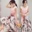 เสื้อผ้าแฟชั่นเกาหลีพร้อมส่งเดรสคอวี พิมพ์ลายผ้าออแกนซ่า thumbnail 1