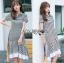 Lady Ribbon Online เสื้อผ้าออนไลน์ขายส่ง lady ribbon เสื้อผ้า LR15150816 Dress เชิ้ตเดรสลายทางตกแต่งชายระบายสไตล์มินิมัล thumbnail 3