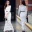 H G เสื้อผ้า ชุดเดรสแฟชั่นเกาหลีสีขาวคอกลม thumbnail 3