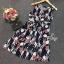 Lady Ribbon ออนไลน์ เสื้อผ้าออนไลน์ พร้อมส่งของแท้ SV05130716 &#x1F389Sevy Printed Flora Hollow Shoulder Straps Sleeveless Mini Dress thumbnail 5