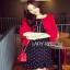 Lady Ribbon Dress and Red Outer Set เซ็ตเดรสสีดำ thumbnail 3