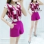 Sevy Two Pieces Of Shocking Pink Square Blouse With Shorts Sets thumbnail 5