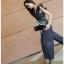 Lady Ribbon Denim Jumpsuit จัมป์สูทสีดำ thumbnail 4