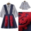 NA12290816 &#x1F389Normal Ally Present Embroidered skirt autumn new collection and striped shirt&#x1F389 (เสื้อเชิตริ้วปักการ์ตูน+ กป.ปักนูนลายกราฟฟิก, มีซับในอย่างดี) thumbnail 7