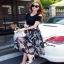 เสื้อผ้าแฟชั่นเกาหลีCliona made'Black Floral Dress thumbnail 3