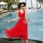 Sevy Ribbon Shoulder Sexy Waist Back Red Hot Maxi Dress thumbnail 5