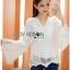 เสื้อผ้าคอตตอนทรงแขนบานสีขาว thumbnail 3