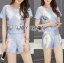 Lady Ribbon Online เสื้อผ้าออนไลน์ ขายส่งของแท้ราคาถููก LR15110716 &#x1F380 Lady Ribbon's Made &#x1F380 Lady Cara Surreal Bejewelled Printed Satin Set thumbnail 3
