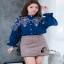 เสื้อผ้าเกาหลี Clionaเสื้อเชิ๊ตคอปิด กระดุมหน้า ขาว/ชมพู/กรม thumbnail 4