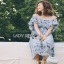 Floral Printed Plated Strappy Dress Lady Ribbon เดรสสายเดี่ยว thumbnail 3