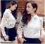 Lady Ribbon Online ขายส่งเสื้อผ้าออนไลน์ Lady Ribbon พร้อมส่ง LR06040816 &#x1F380&#x1F380 Lady Ribbon's Made &#x1F380&#x1F380 Lady Blaire Floral Embroidered Lace Shirt in White thumbnail 2