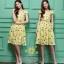เสื้อผ้าแฟชั่นเกาหลีพร้อมส่งเดรสพิมพ์ลายผ้าซาตินซิล thumbnail 1