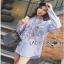 Lady Ribbon Cotton Shirt เชิ้ตลายทางสีฟ้าปักลายดอกไม้ thumbnail 5