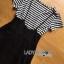 Lady Ribbon Online เสื้อผ้าออนไลน์ขายส่ง lady ribbon เสื้อผ้า LR12150816 &#x1F380 Lady Ribbon's Made &#x1F380 Lady Dani Sweet Minimal Striped Top with Black Overall เซ็ตเสื้อแขนสั้น thumbnail 5