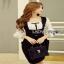 Lady Ribbon White Polkadot Dress เดรสเอี๊ยมสีขาว thumbnail 4