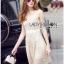 Lady Ribbon Online ขายส่งเสื้อผ้าออนไลน์เลดี้ริบบอน LR16010816 &#x1F380 Lady Ribbon's Made &#x1F380 Lady Selena Classic Elegant Sleeveless White Mixed Lace Top เ thumbnail 4