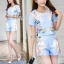 Lady Ribbon ออนไลน์ เสื้อผ้าออนไลน์ พร้อมส่งของแท้ SV07130716 &#x1F389Sevy Two Pieces Of Nail Design Blouse with Shorts Sets thumbnail 3