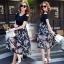 เสื้อผ้าแฟชั่นเกาหลีCliona made'Black Floral Dress thumbnail 1