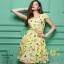 เสื้อผ้าแฟชั่นเกาหลีพร้อมส่งเดรสพิมพ์ลายผ้าซาตินซิล thumbnail 2