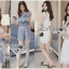 Lady Ribbon Online ขายส่งเสื้อผ้าออนไลน์ Lady Ribbon พร้อมส่ง LR19040816 &#x1F380 Lady Ribbon's Made &#x1F380 Lady Jessie Minimal Feminine Lace Sleeveless Top and Lace Shorts Set เซ็ตเสื้อแขนกุด thumbnail 1