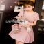 Mini Dress มินิเดรสตกแต่งผ้าพลีตสีชมพู thumbnail 4