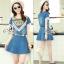 Lady Ribbon Online ขายส่งเสื้อผ้าออนไลน์ เสื้อผ้า Sevy SV01030816 &#x1F389Sevy Two Pieces Of Triangle Scarf Denim Sets Type: Blouse+Shorts(Sets) Fabric: Denim+Cotton Detail: thumbnail 3