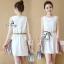 Lady Ribbon ออนไลน์ เสื้อผ้าออนไลน์ พร้อมส่งของแท้ SV04130716 &#x1F389Sevy Sleeveless Color Pleat Side Stripes Mini Dress thumbnail 4