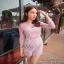 เสื้อผ้าแฟชั่นน่าใส่ จั้มสูทเกาหลีสีชมพู thumbnail 3
