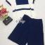 Lady Ribbon Online เสื้อผ้าแฟชั่นออนไลน์ขายส่ง เลดี้ริบบอนของแท้พร้อมส่ง sevy เสื้อผ้า SV14240716 BEST SELLER-Restock &#x1F389Sevy Two Pieces Of Casual Navy Collapse Blouse With Third Capri Pants Sets thumbnail 5