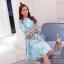 2Sister Made, Sweet Lovely Cuties Blue Wonder Dress เดรสสั้นลุคสาวหวาน ผ้าchiffonพริ้วบางเบาพิมพ์ลายดอกสวยทั้งตัว thumbnail 6